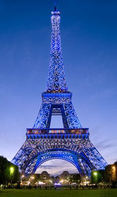Eiffel Tower in Blue illumination, Paris