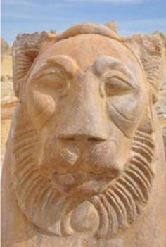 Lion-shaped statues unearthed in Fayoum, Ptolemaic Egypt (305 b.C.- 30 b.C)
