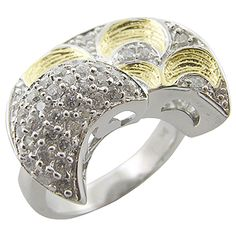 925 Sterling Silver on 18k Gold Cubic Zirconia Ring
