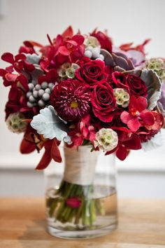 Red Bouquet - New York City Real Wedding - Samantha and Kevin on Style Me Pretty