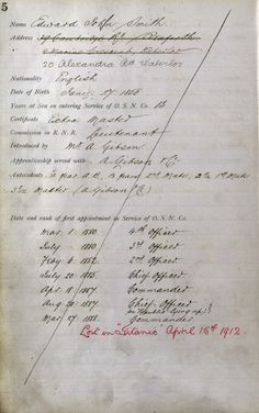 """An original colour scan of Captain Edward Smith's employment record listing all the ships he served on and when. You can see the red ink on his record which tells us he was 'Lost in """"Titanic"""" April 15th, 1912'"""