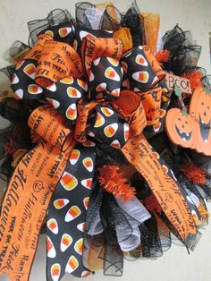 Halloween Pumpkin Deco Mesh Wreath