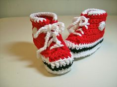 Baby Booties Red  Hi-top Sneakers Converse Style Basketball Shoes Slippers NEWBORN. $15.00, via Etsy.