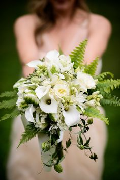 Woodland elegance fern white bridal bouquet Beautiful, organic white and green bridal bouquet by Brown Paper Design, Photo by Chrisman Studios | junebugweddings.com