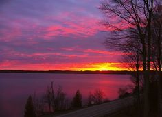 lake bed, torch lake, central lake, beauti sunset