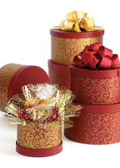 Elegant Red Scroll Nested Boxes by Nashville Wraps.
