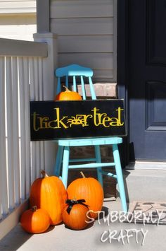 treats, buckets, trick or treat sign, fall, old chairs, holiday decor, cricut, front porches, halloween