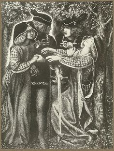 How They Met Themselves Drawing by Dante Gabriel Rossetti.