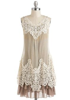 Dreams and Sugar Dress by Ryu - Lace, Ruffles, Tiered, Daytime Party, Sleeveless, Tan, Tan / Cream, Tent / Trapeze, Mid-length, Lace