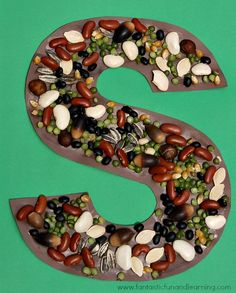 Letter S Craft...S is for Seeds. Great as a letter S Craft or a beautiful seed mosaic in any shape.