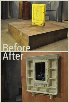 This worn out yellow cabinet was transformed into a shabby-chic medicine cabinet.