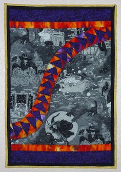 Witches Witches Witches! Halloween quilt by Shannon Conley.  Curved flying geese.