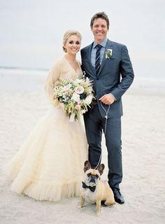 Dog in beach wedding