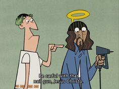 Safety first, Jesus! nail gun