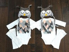 Baby bird owl girl halloween costume Carter's etsy newborn 0-3 months, twin | eBay
