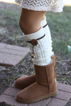 Legwarmers - Boho, Knitted, Ivory, Leather Bow, Wood Buttons, Brown lace, Boot Cover, Socks, Crochet, Lace Trim