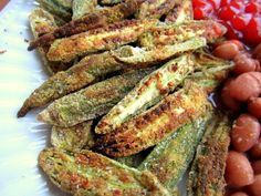 Baked Okra Chips, you can also make these without the flour coating, and they still taste great! Img45521