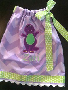Purple Chevron Barney the dinosaur party dress