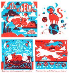 dogs, michael wertz, dreams, dog dream, graphics, prints, illustr book, design
