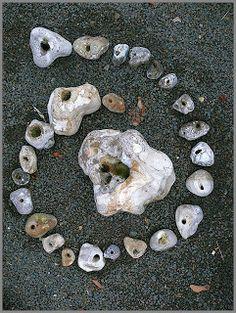Cauldron Craft Oddities: Hag Stone Lore thoughts, cauldron craft, rocki stone, display cases, hag stone, homes, stones, rocks, crafts