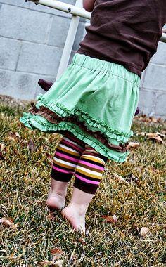 Adult tee to ruffled kid skirt so perfect.