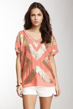 Embellished V-Neck Blouse on HauteLook