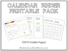 Calendar Binder Tour and Free Printables
