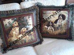 cagnoloni di, tema cani, cuscini countri, golden retrievers, di golden, stile countri, countri tema
