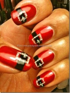 "**DON'T CLICK ON THE PIC** It doesn't take you anywhere.  Yep, I love the idea of doing one nail like this better.  ""Santa Belt Nails.. Would be cute to do on one nail and the rest just a solid color(red)"""
