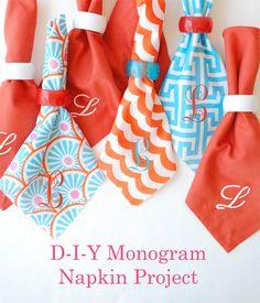 DIY monogram napkins