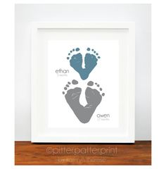 Gift for Grandparents  Baby Footprint Hearts  by PitterPatterPrint, $35.00