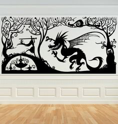 Princess with her Sword Fighting the Dragin, Fariytale, Vinyl Decal, Wall Art, Sticker, perfect for Nursery, Bedroom - YEAH!