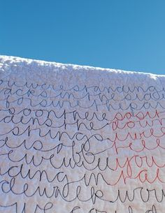 Free motion quilting Words.  Looks fun to try.