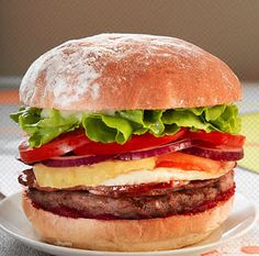 Australian Hamburger with pineapple and beets. Sounds divine!
