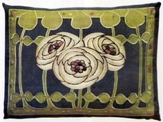 Ann Macbeth (1875-1948) - Embroidered Cushion Cover. Circa 1900. Macbeth Studied at the Glasgow School of Art and about 1911 she succeeded Jessie Newbery as Head of its Embroidery Department.