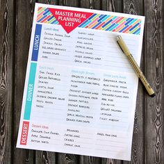 Free printable. Keep all your meal ideas together on this master meal planning list. Just print out and start listing your lunch, dinner and dessert ideas. Tape inside your kitchen cupboard door for easy access.