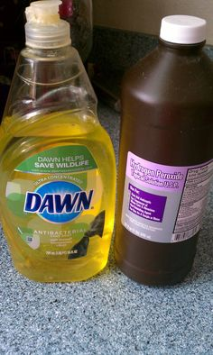 Spot remover   1part dawn 2parts hydrogen peroxide.   Pour or spray directly on stain.