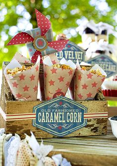 Cute Paper Cones filled with Pop Corn or Cracker Jacks! Get more Ideas for the 4th Here --> http://www.passionforsavings.com/category/recipes/ vintag fourth, americana 4th, diy vintag, juli parti, vintage americana, vintag americana, fourth of july, vintage 4th of july party, caramel corn