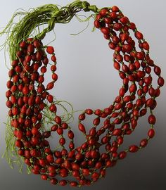 Lynn Kelly, New Zealand: 'Rosehip Necklace' Sterling, Rosehip, cotton