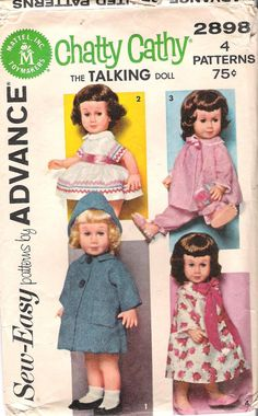 Vintage 1960's Chatty Cathy Doll Dress Coat and Pajamas sewing pattern.  Pretty sure this is the pattern used for the doll clothing made for MY Chatty Cathy in the 60's