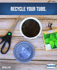 Instead of tossing your Philly tub, save it and create an herb garden! Add a little soil, some seeds, and a little love, then watch it grow. #DIY