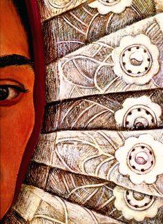 1948 Frida Kahlo Autoportrait, Déail La dentelle, Self-portrait, Déail lace. #Art #Mexico #deFharo