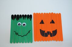 Halloween Crafts with Popsicle Sticks | Frankenstein is my personal favorite! I used a few less craft sticks ...