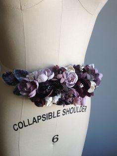 Plum Grey Wine Purple Millinery Flower Bridal Wedding Sash. $349.00, via Etsy.