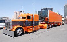 custom 18, big truck, orang, big rig trucks, custom trucks