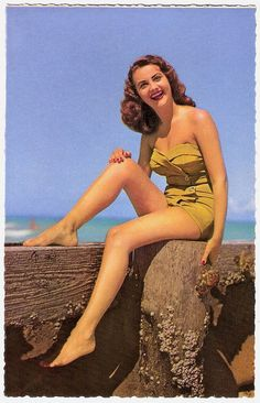 Love vintage swimsuits with buttons on them! #vintage #beach #summer #buttons #1940s #1950s #pinup