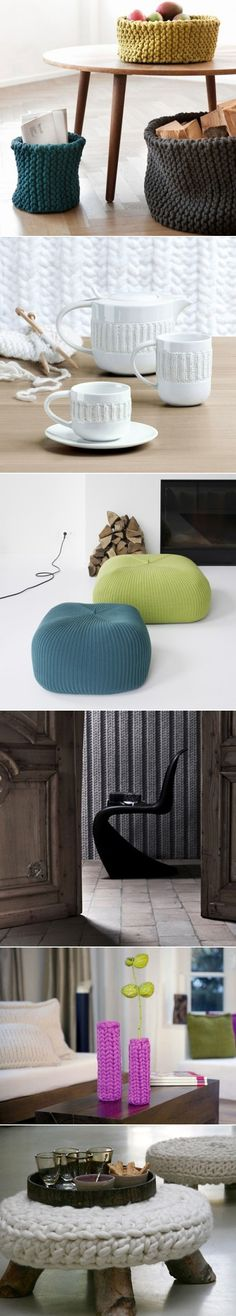 DIY Knitted Elements of Decor and Furniture Pieces