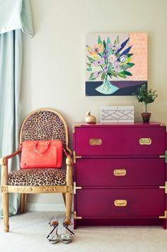 Radiant Orchid Dresser and Leopard Print Chair {via Arizona Foothills Magazine}