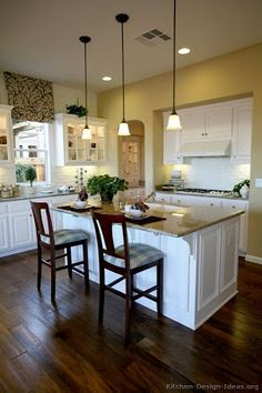 Traditional White Kitchen Cabinets, love floors  curtain