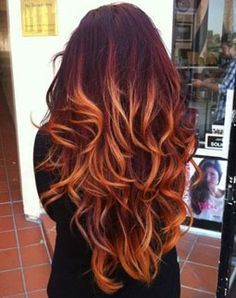Red Ombre Hair Ideas.... My DA would look AHmazing with this color and style.....IF she would let her hair GROW...... hair color ideas ombre, red hair color ombre, hair colors, red ombre hair color, ombr hair, colored hair ideas ombre, brown red ombre hair, hair color ombre red, ombre hair color red